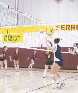 <span class='credit'>Photo By: Kristyn Sonnenberg | Photo Editor</span><span class='description'>Redshirt freshman Samantha Fordyce sets it up for the spike at the match against Saginaw Valley State on Friday, in which she chalked up 30 of the Bulldogs' 31 assists. The team ended up losing 0-3, but came back on Saturday to win 3-0 against Lake Superior State.</span>