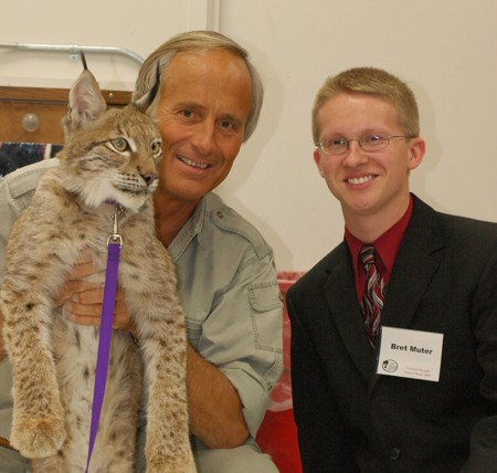 """Muter Doing Great Things: Bret Muter, a Ferris State alumnus and former Torch section editor, is shown above with Jack Hanna in 2005. Muter is a finalist for the """"Wanna Be Like Jack Hanna"""" contest. Photo Courtesy of Bret Muter"""