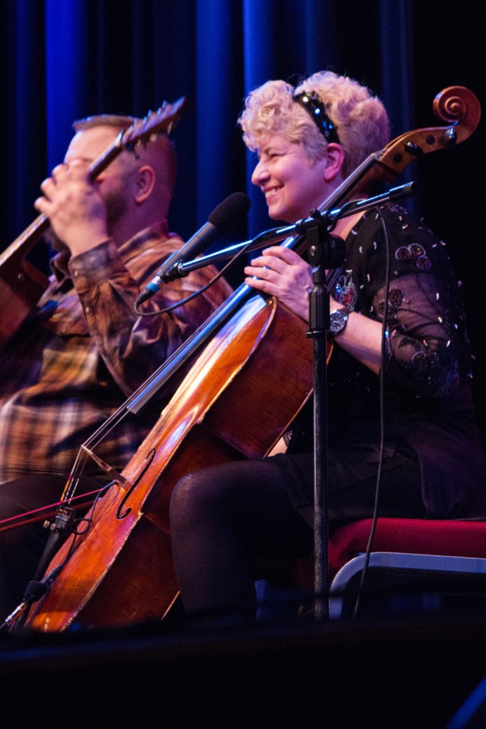 Jazz cellist Alison Donahue was joined on stage by temporary replacement guitarist Ben Luttermoser during their Feb. 6 performance in Williams Auditorium.
