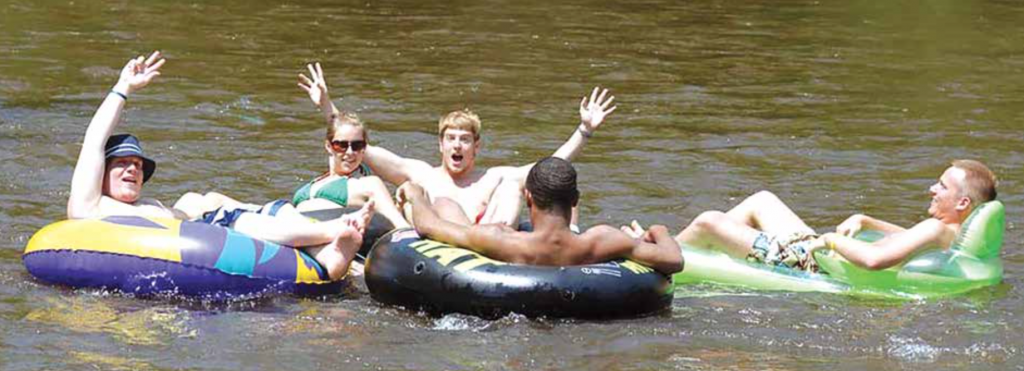 Tubing down the Muskegon River is a popular activity for Ferris students in the warmer months of the year. Many claim it to be something every student must do before graduating.