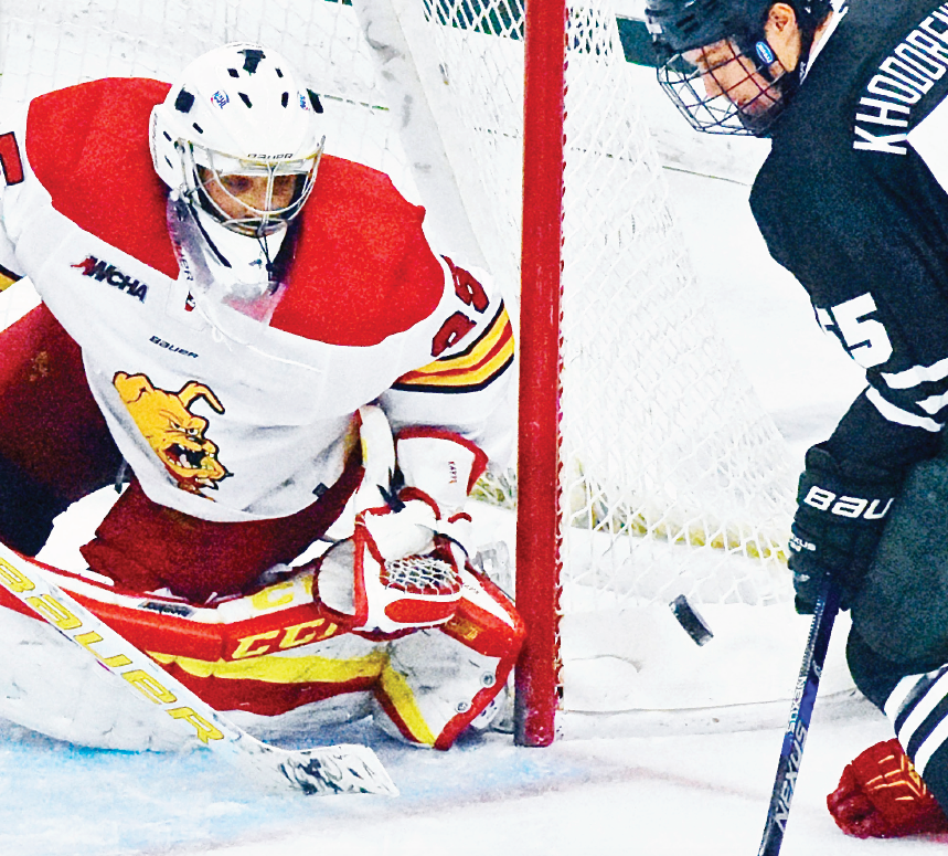 Ferris freshman goaltender Justin Kapelmaster and sophomore goaltender Darren Smith have split starts between the pipes this season, but Kapelmaster has produced a perfect 5-0 record in his five starts.